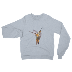 Hummingbird print Unisex California Fleece Raglan Sweatshirt