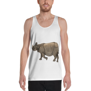 Indian Rhinoceros Print Unisex Tank Top