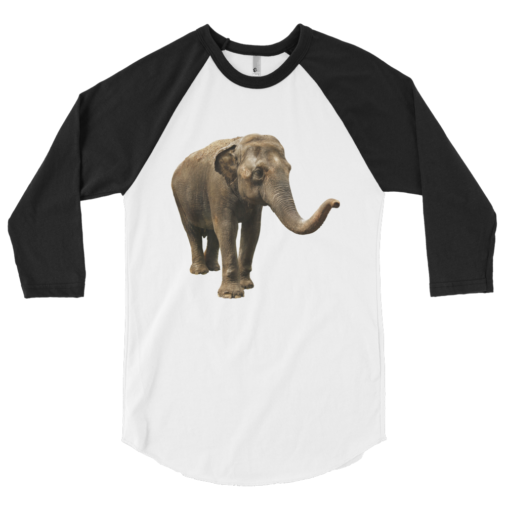Indian-Elephant Print 3/4 sleeve raglan shirt
