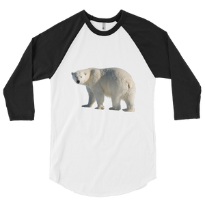 Polar-Bear print 3/4 sleeve raglan shirt