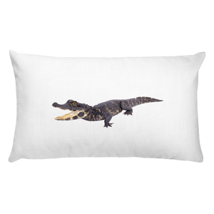 Dwarf-Crocodile Print Rectangular Pillow