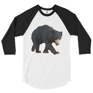 Sloth-Bear print 3/4 sleeve raglan shirt