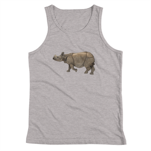 Indian-Rhinoceros Print Youth Tank Top
