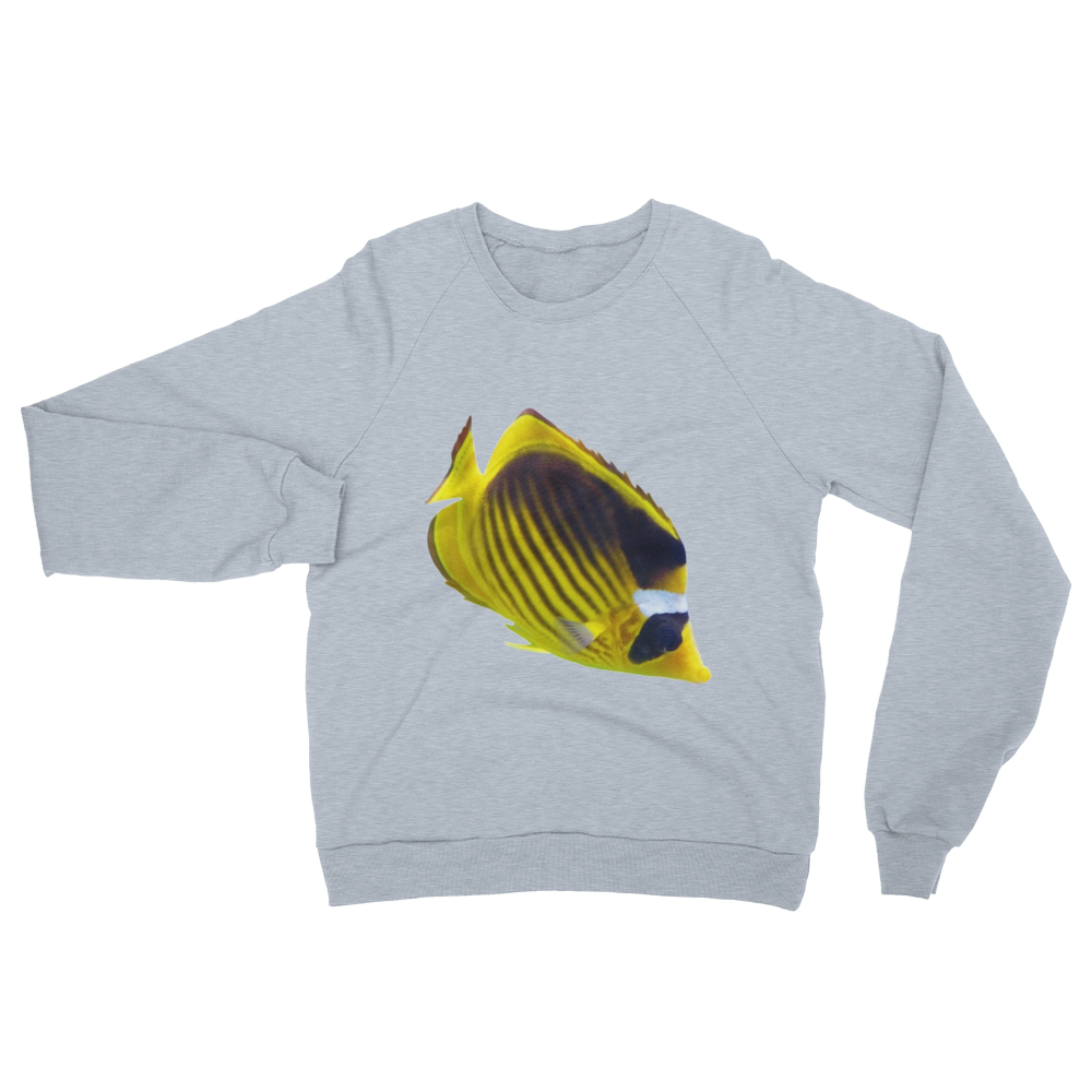 Butterfly-Fish print Unisex California Fleece Raglan Sweatshirt