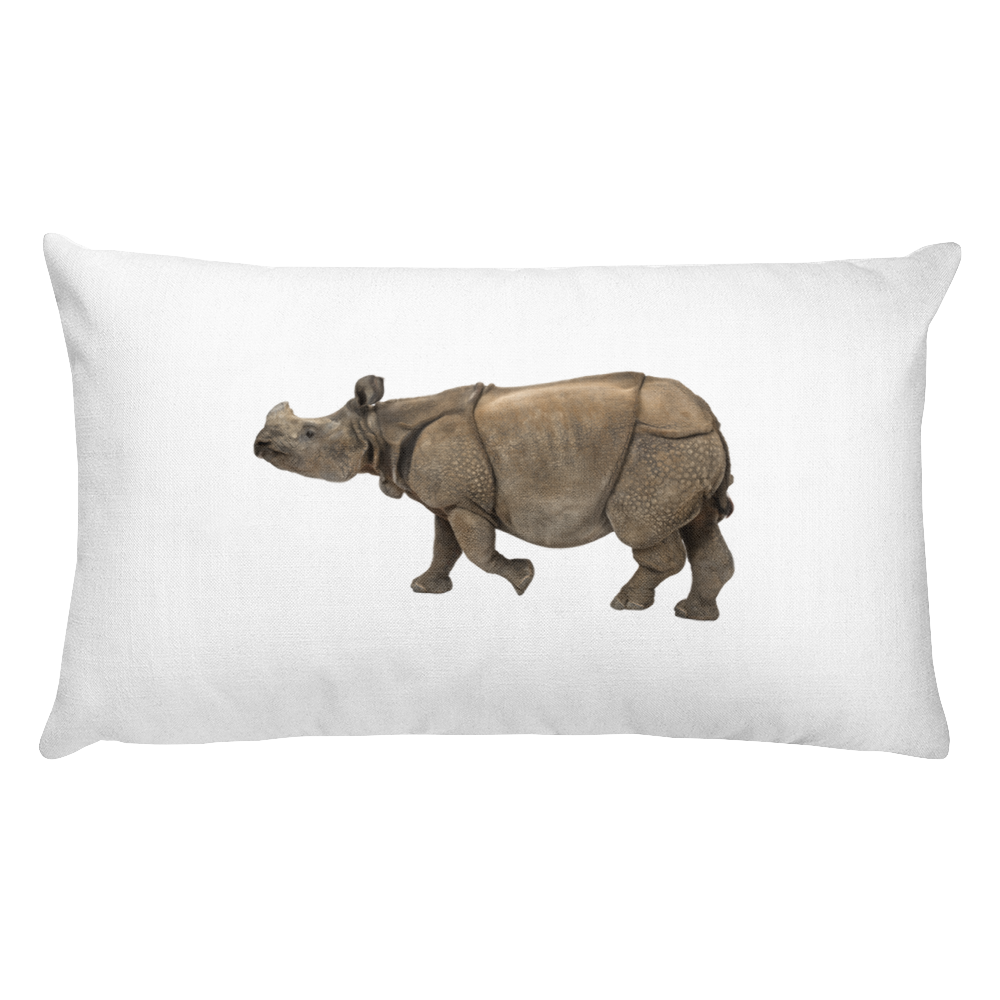 Indian-Rhinoceros Print Rectangular Pillow