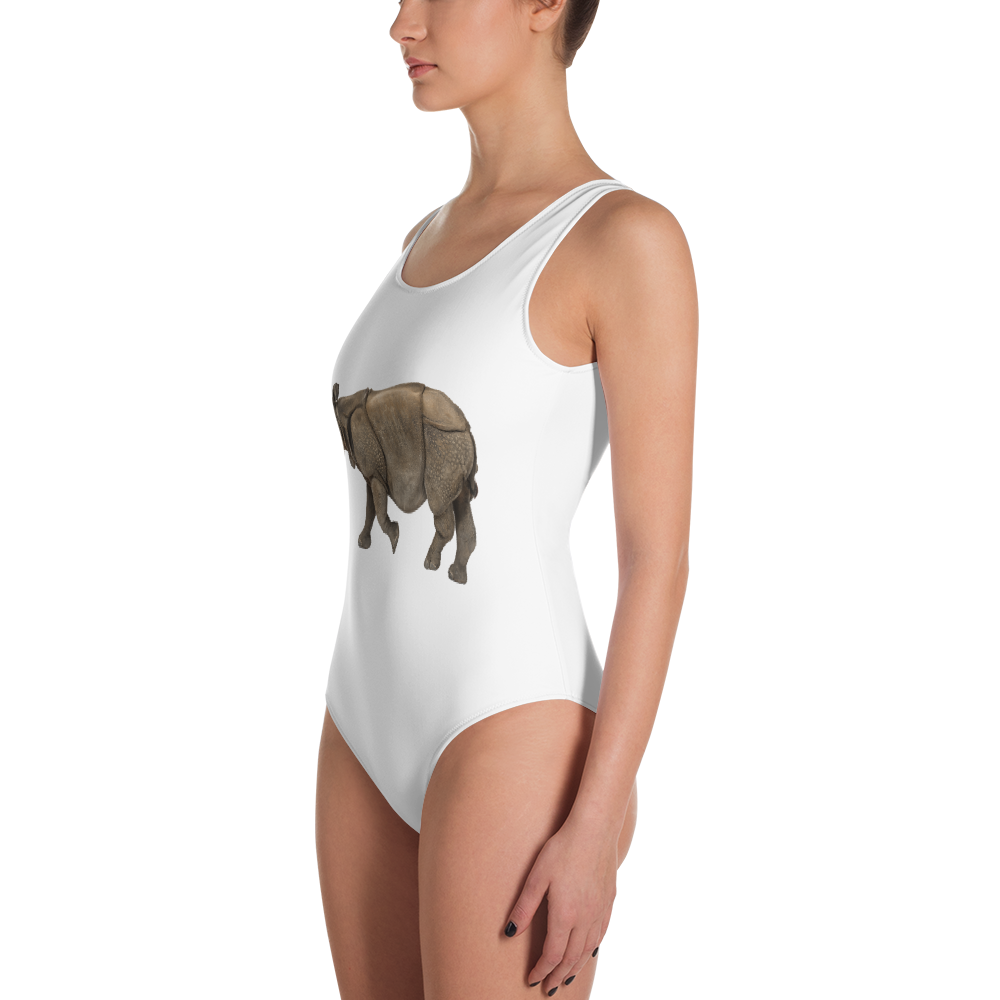 Indian-Rhinoceros Print One-Piece Swimsuit