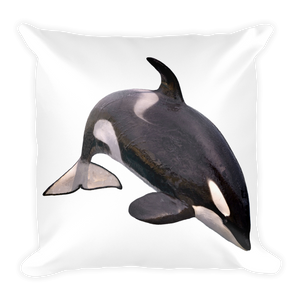 Killer-Whale Print Square Pillow