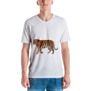 Siberian Tiger Print Men's V neck T-shirt