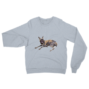African-Wild-Dog Print Unisex California Fleece Raglan Sweatshirt