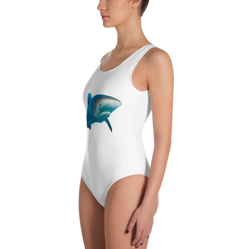 Great-White-Shark Print One-Piece Swimsuit