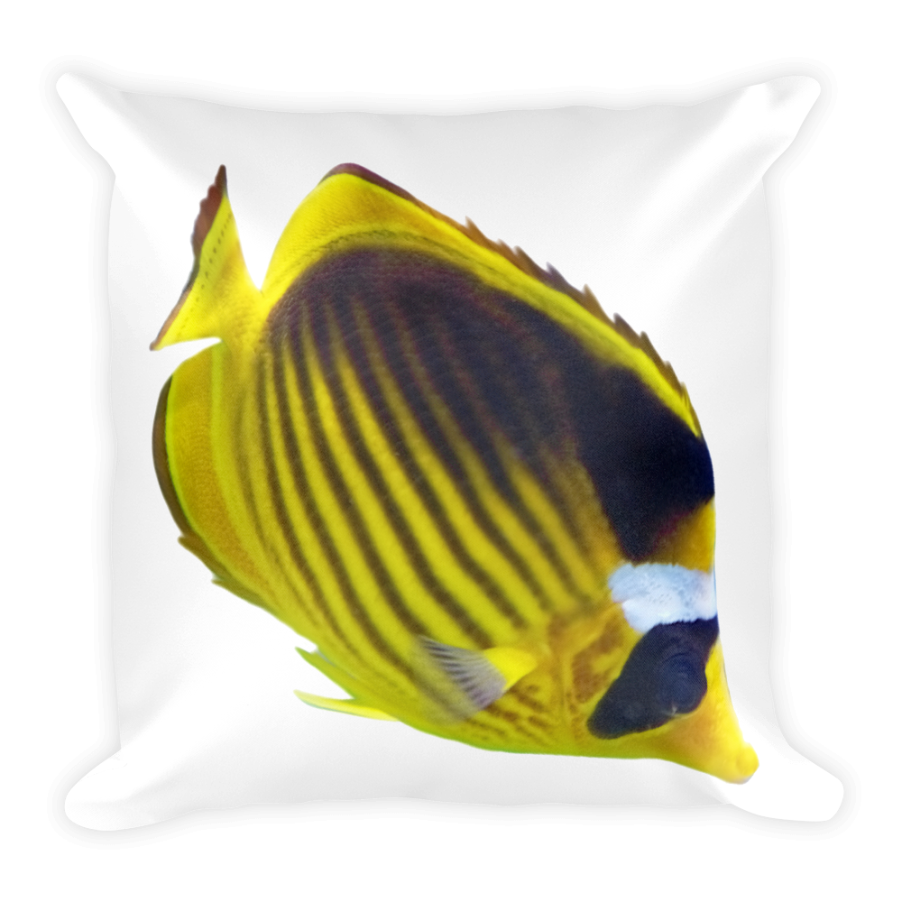 Butterfly-Fish- Print Square Pillow