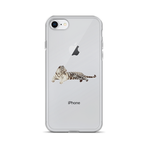 White-Tiger Print iPhone Case