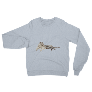 White-Tiger print Unisex California Fleece Raglan Sweatshirt