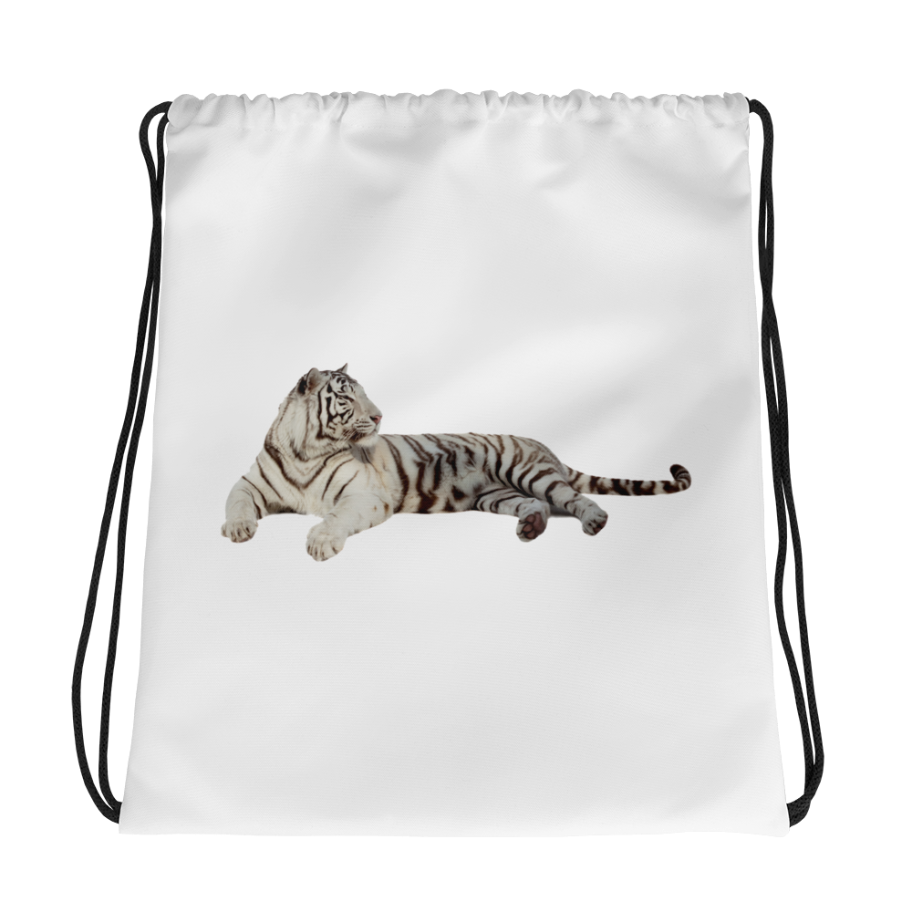 White-Tiger Print Drawstring bag