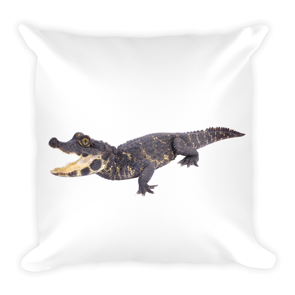 Dwarf-Crocodile Print Square Pillow