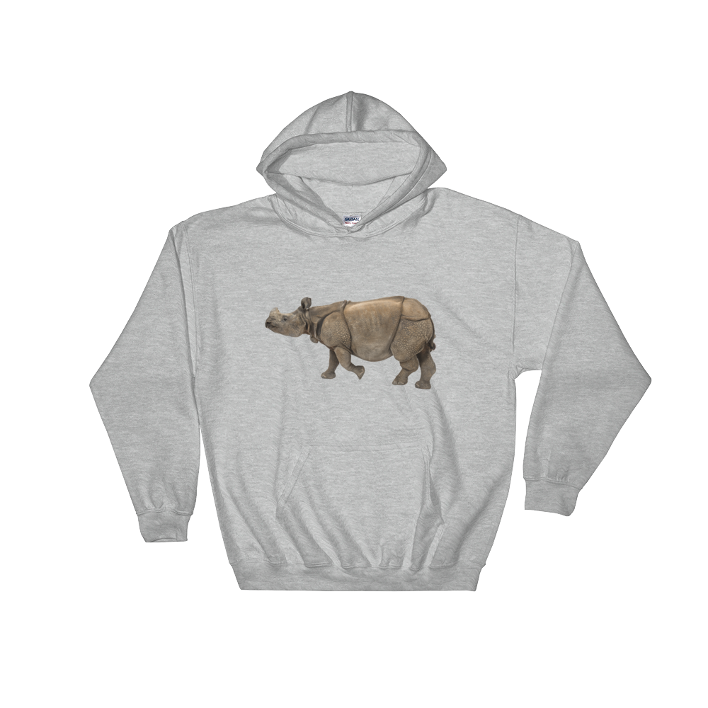 Indian-Rhinoceros Print Hooded Sweatshirt