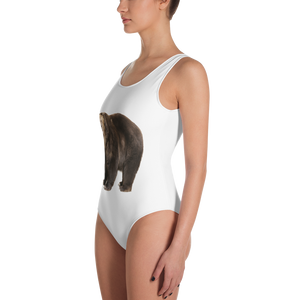 Brown-Bear Print One-Piece Swimsuit