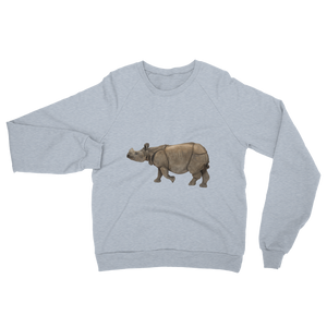 Indian-Rhinoceros print Unisex California Fleece Raglan Sweatshirt