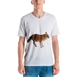 Dhole Print Men's V neck T-shirt