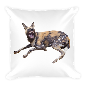 African-Wild-Dog Print Square Pillow