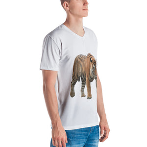 Bengal Tiger Print Men's V neck T-shirt