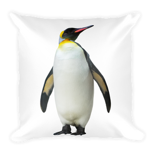 Emperor-Penguin Print Square Pillow