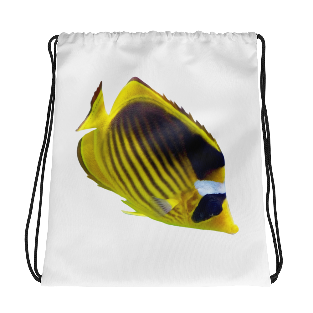 Butterfly-Fish Print Drawstring bag