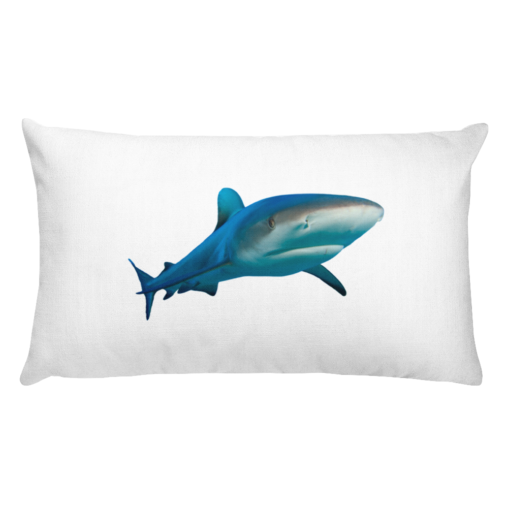 Great-White-Shark Print Rectangular Pillow