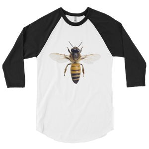 Honey-Bee Print 3/4 sleeve raglan shirt