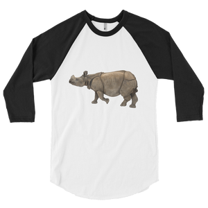 Indian-Rhinoceros Print 3/4 sleeve raglan shirt