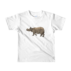 Indian-Rhinoceros Print Short sleeve kids t-shirt