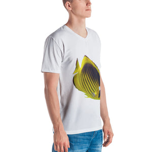 Butterfly Fish Print Men's V neck T-shirt