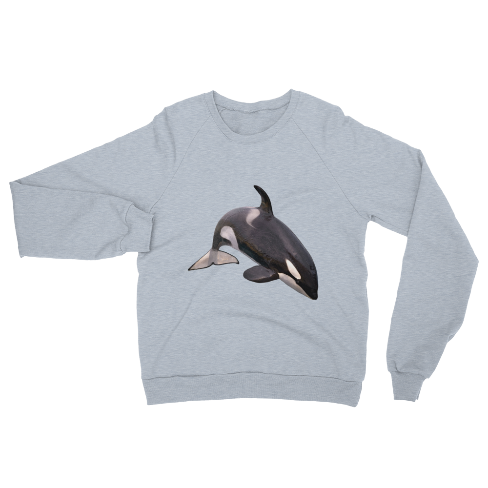 Killer-Whale print Unisex California Fleece Raglan Sweatshirt