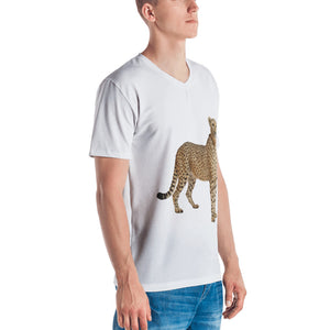 Cheetah Print Men's V neck T-shirt