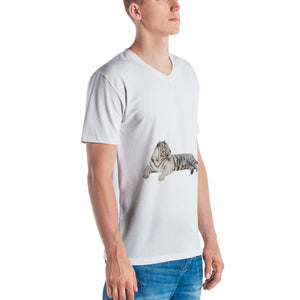 White Tiger Print Men's V neck T-shirt