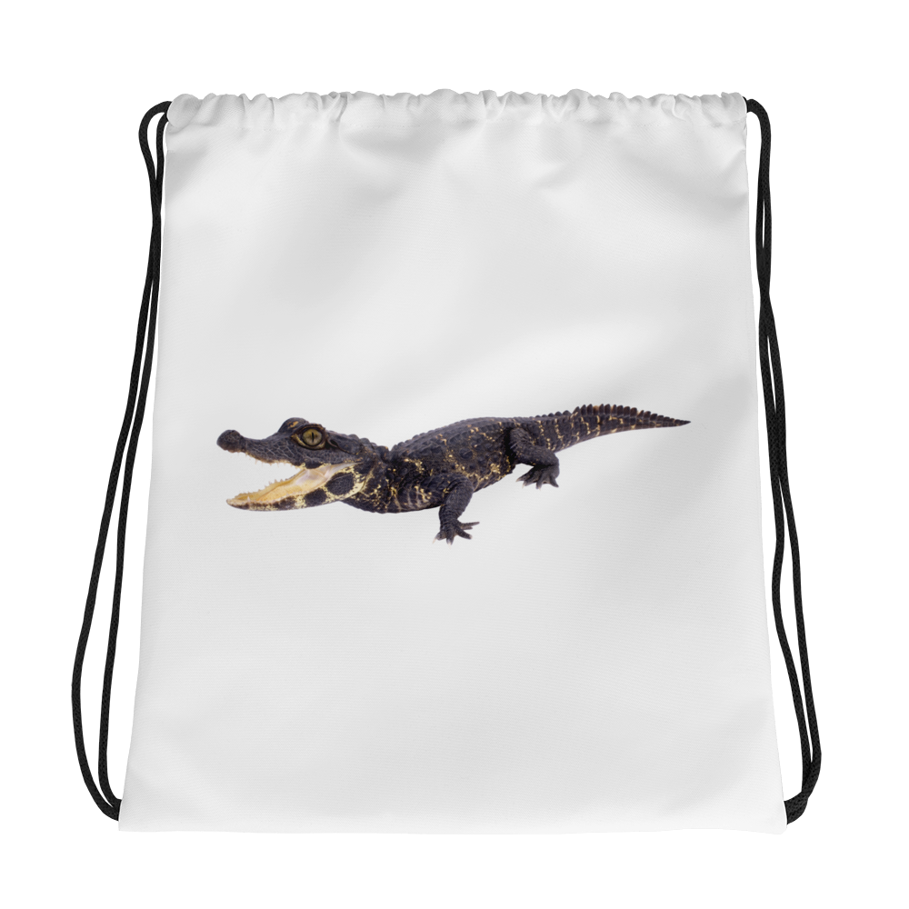 Dwarf-Crocodile Print Drawstring bag