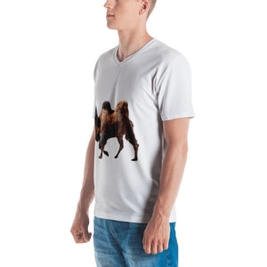 Bactrian Camel Print Men's V neck T-shirt