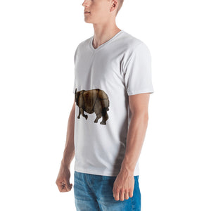 Indian Rhinoceros Print Men's V neck T-shirt