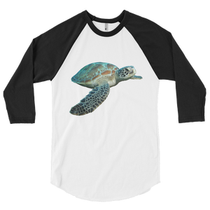 Sea-Turtle print 3/4 sleeve raglan shirt