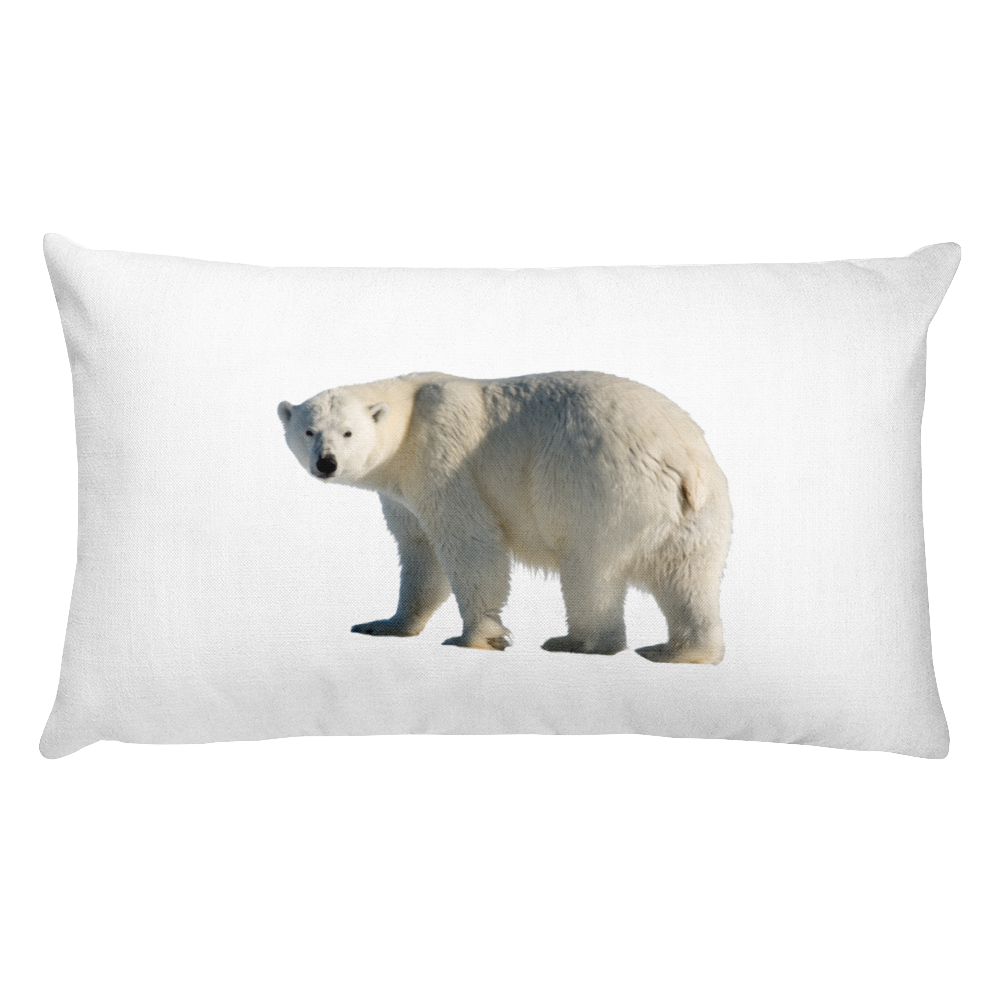 Polar-Bear Print Rectangular Pillow