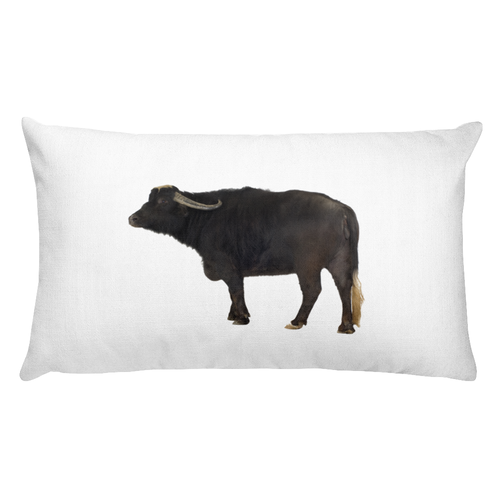 Water-Buffalo Print Rectangular Pillow