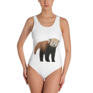 Red-Panda Print One-Piece Swimsuit