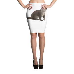 European-Otter Print Pencil Skirt