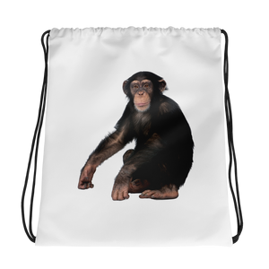 Chimpanzee Print Drawstring bag