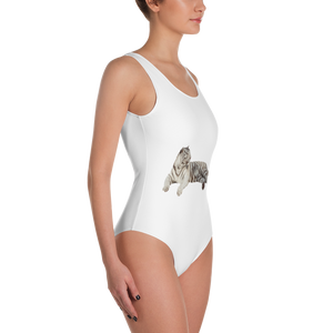 White-Tiger- Print One-Piece Swimsuit
