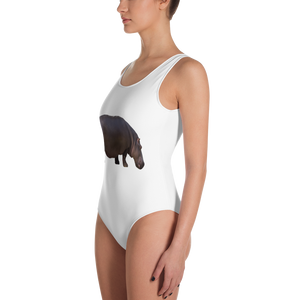 Hippopotamus Print One-Piece Swimsuit