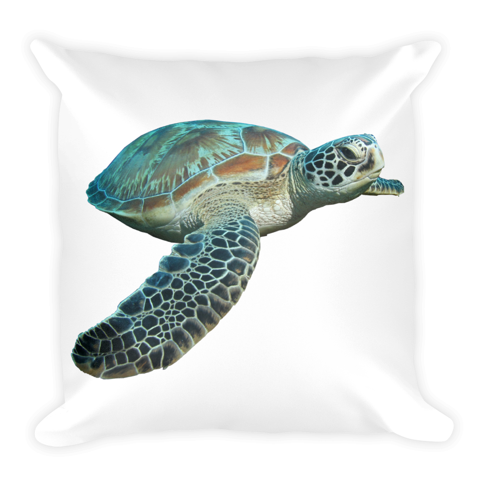 Sea-Turtle Print Square Pillow