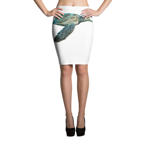 Sea-Turtle Print Pencil Skirt