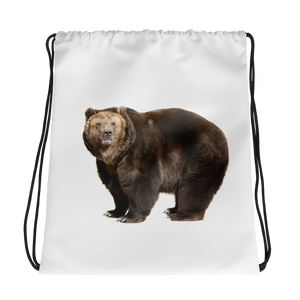Brown-Bear Print Drawstring bag