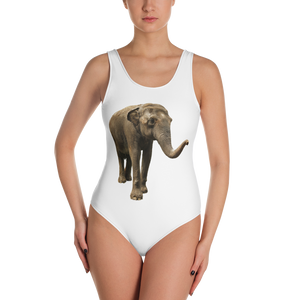 Indian-Elephant Print One-Piece Swimsuit